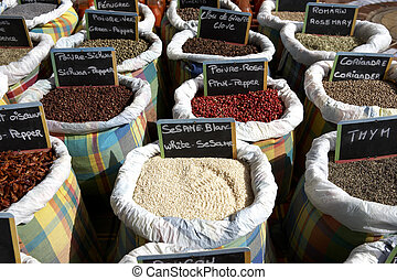 cooking spices for sale on a market stall Marigot St Martin leeward islands lesser antilles eastern caribbean west indies