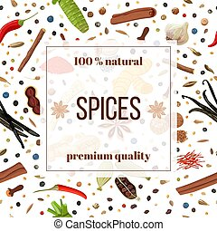 Cooking spices seamless pattern set