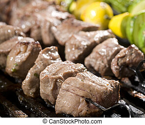 Cooking Steak and Vegetable Skewers