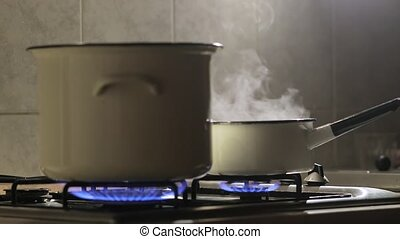 Cooking steam slow motion