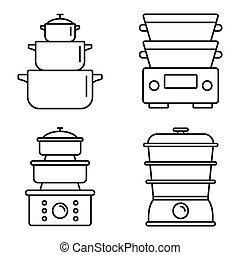 Cooking steamer icon set, outline style