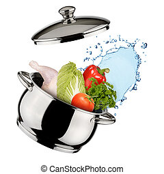 Cooking concept. Saucepan with vegetables and water isolated...