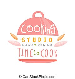 Cooking studio, time to cook logo design, kitchen emblem can be used for culinary class, course, school hand drawn vector Illustration
