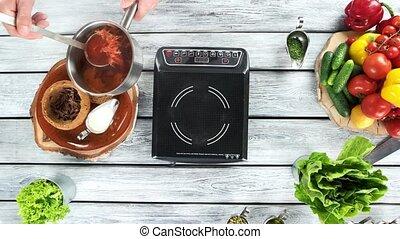Cooking table top view, borscht.