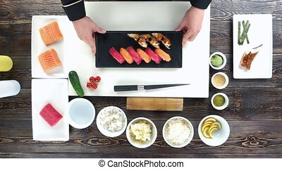 Cooking table top view, sushi.