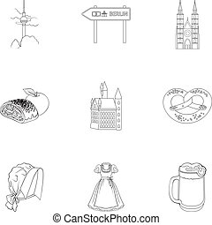 Cooking, textiles, tourism and other web icon in outline style. Residential, national, attributes, icons in set collection.