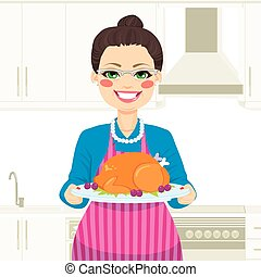 Cooking Thanksgiving Turkey - Lovely senior woman cooking...