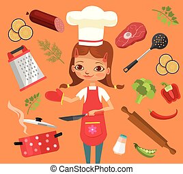 Cooking time. Girl character cook