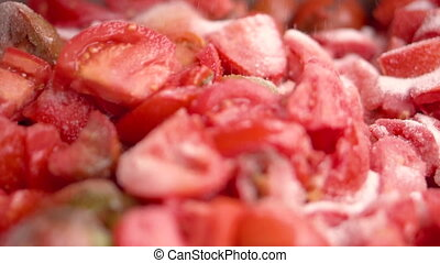 Cooking tomato sauce close-up. Cooking fresh tomato in pan,...