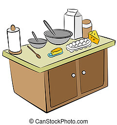 An image of a cooking tools and ingredients on a kitchen island.