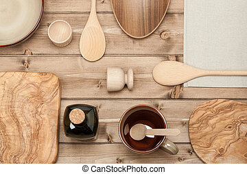 Cooking Tools. Kitchenware. Olive Wood Chopping Board. Top View.