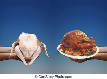 Cooking Turkey - Contasting photo of uncooked and cooked...
