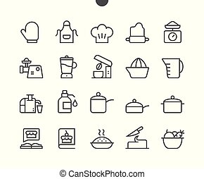 Cooking UI Pixel Perfect Well-crafted Vector Thin Line Icons 48x48 Grid for Web Graphics and Apps. Simple Minimal Pictogram Part 1-3