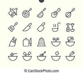Cooking UI Pixel Perfect Well-crafted Vector Thin Line Icons 48x48 Grid for Web Graphics and Apps. Simple Minimal Pictogram Part 2-3