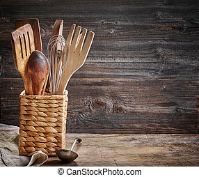 cooking utensil on wooden table - cooking utensil on old ...