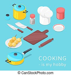 Cooking utensils and food background vector illustration. Pots, pans, vegetables, baking utensils with cutlery and products set. Cooking is my hobby poster.