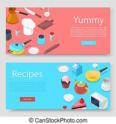 Cooking utensils and food banners set vector illustration. Pots, pans, cookers hat, baking utensils with cutlery and products set. Cooking and recepies web banners.