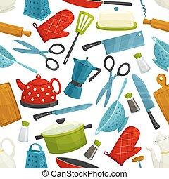 Cooking utensils, kitchenware seamless pattern