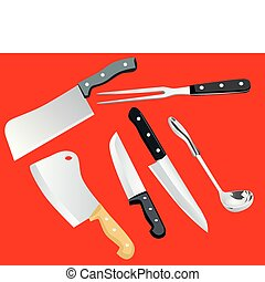 cooking utensils on a red background