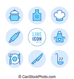 Cooking vector line icons set. Kitchen utensils, cooking pot, food preparation, cutting board outline symbols. Modern simple stroke graphic elements. Round icons