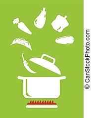 Cooking Vegetables  Illustration
