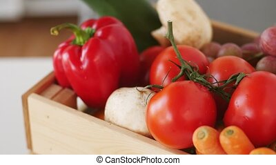 wooden box of fresh ripe vegetables - cooking, vegetarian...