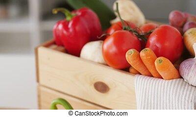 wooden box of fresh ripe vegetables - cooking, vegetarian...