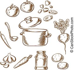 Cooking vegetarian soup with ingredients