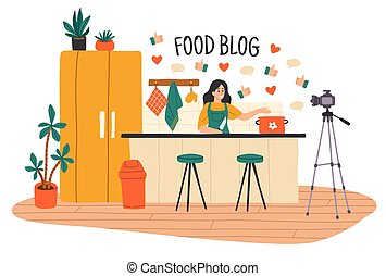 Cooking video blog. Women vlog or show with culinary ...
