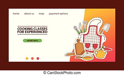 Cooking website template vector illustration. Cooking classes for experienced. Kitchenware and tableware, apron, wooden cutting board, rolling-pin, kettle, teapot, frying pan.