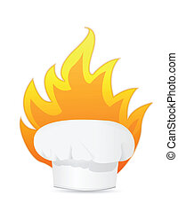 cooking with fire illustration design