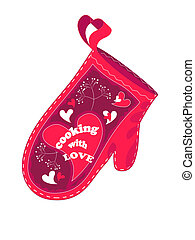 Cooking with love - Valentine postcard with red oven glove.