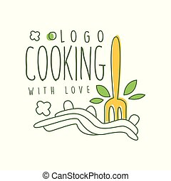 Cooking with love logo design with illustration of fork in pasta. Abstract line art drawing of homemade noodles. Hand drawn vector on white.