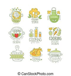 Cooking with love logo original design, badge for restaurant or home kitchen hand drawn vector Illustration