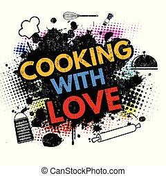 Cooking with love on black ink splatter