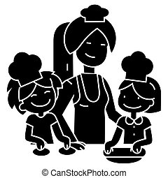 cooking woman with kids - bakery family icon, vector illustration, black sign on isolated background