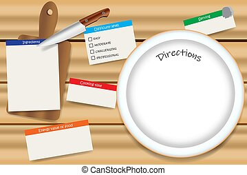 Cooking wooden board with a empty plate ready for your text