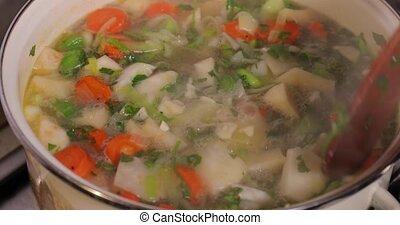cookingvegetable, soupe, ingrédients, frais