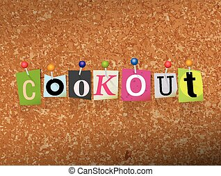 Cookout Concept Pinned Letters Illustration - The word...
