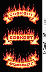 Cookout Fire Flame Scroll Banners is an illustration of a ...