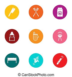 Cookout icons set, flat style - Cookout icons set. Flat set...