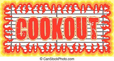 Cookout With Flames Design is an illustration of a cookout...