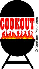 Cookout With Grill is an illustration of a cookout or...