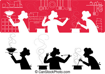 Cooks in the kitchen - Silhouettes of three cooks working in...