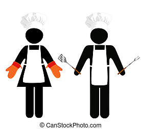 Cooks Symbol-People - CAUTION: Cook Crossing? Chef Working?...
