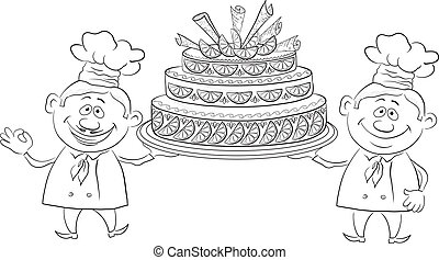 Cooks with holiday cake, outline - Cartoon character cooks -...
