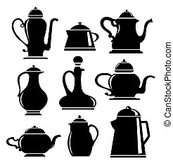 Cookware - A set of silhouettes in black on white cookware