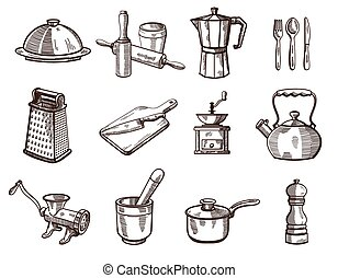 Cookware and kitchen utensils - Collection of detailed ...