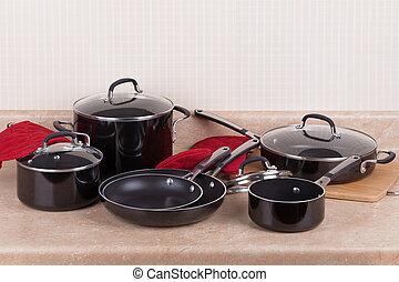 cookware, conjunto, cocina