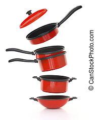 cookware, conjunto, fondo blanco, rojo